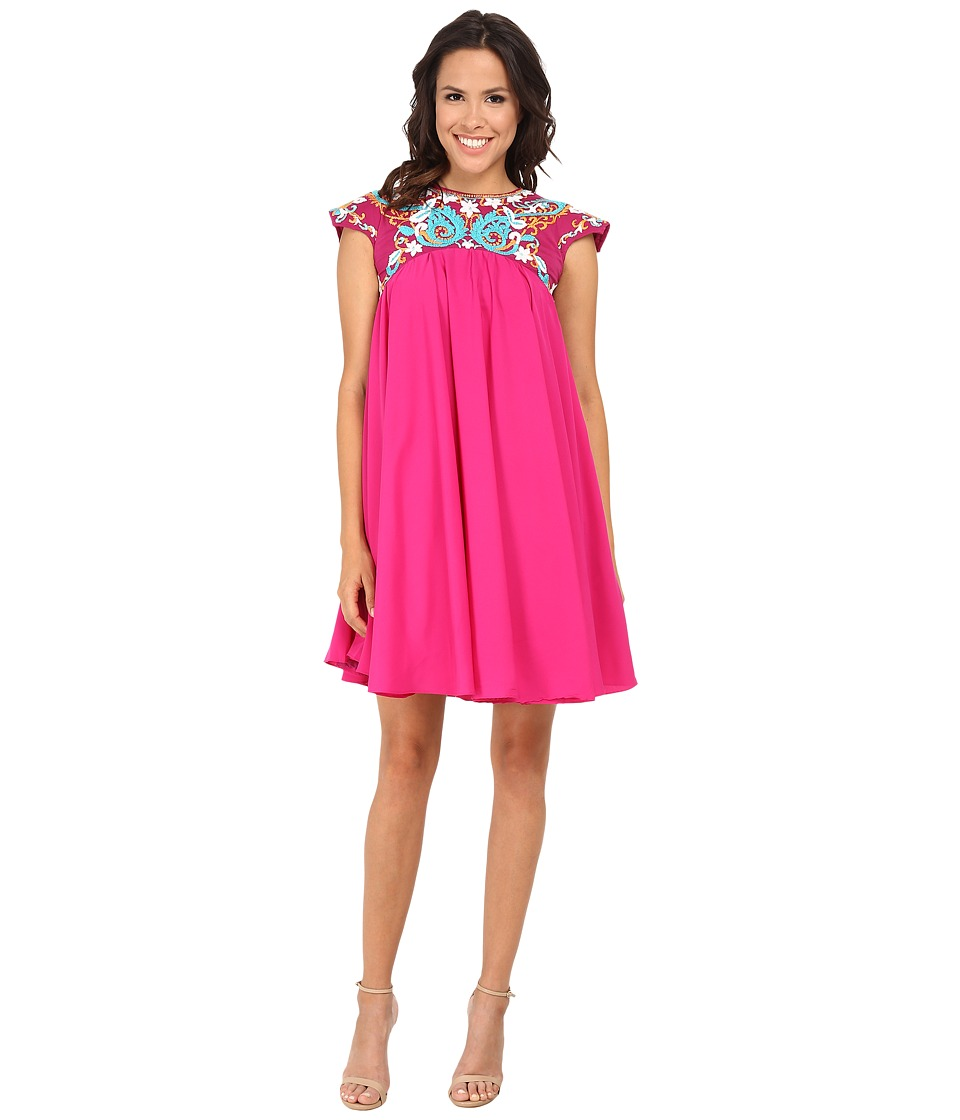 KAS New York - Aiken Embroidered Swing Dress (Fuchsia) Women