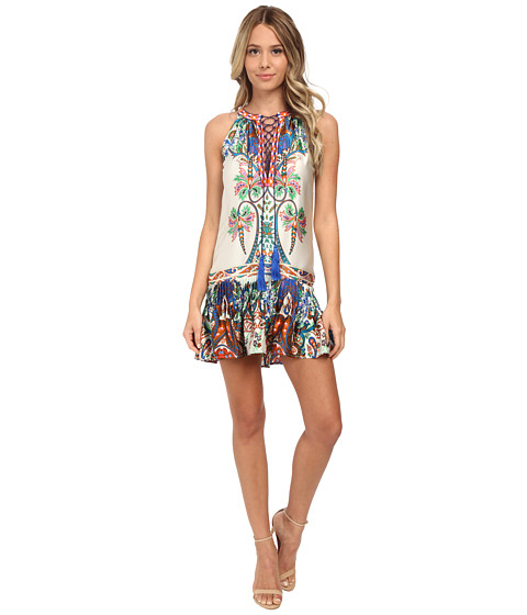 KAS New York - Solada Embroidered Drop Waist Print Dress (Multi) Women