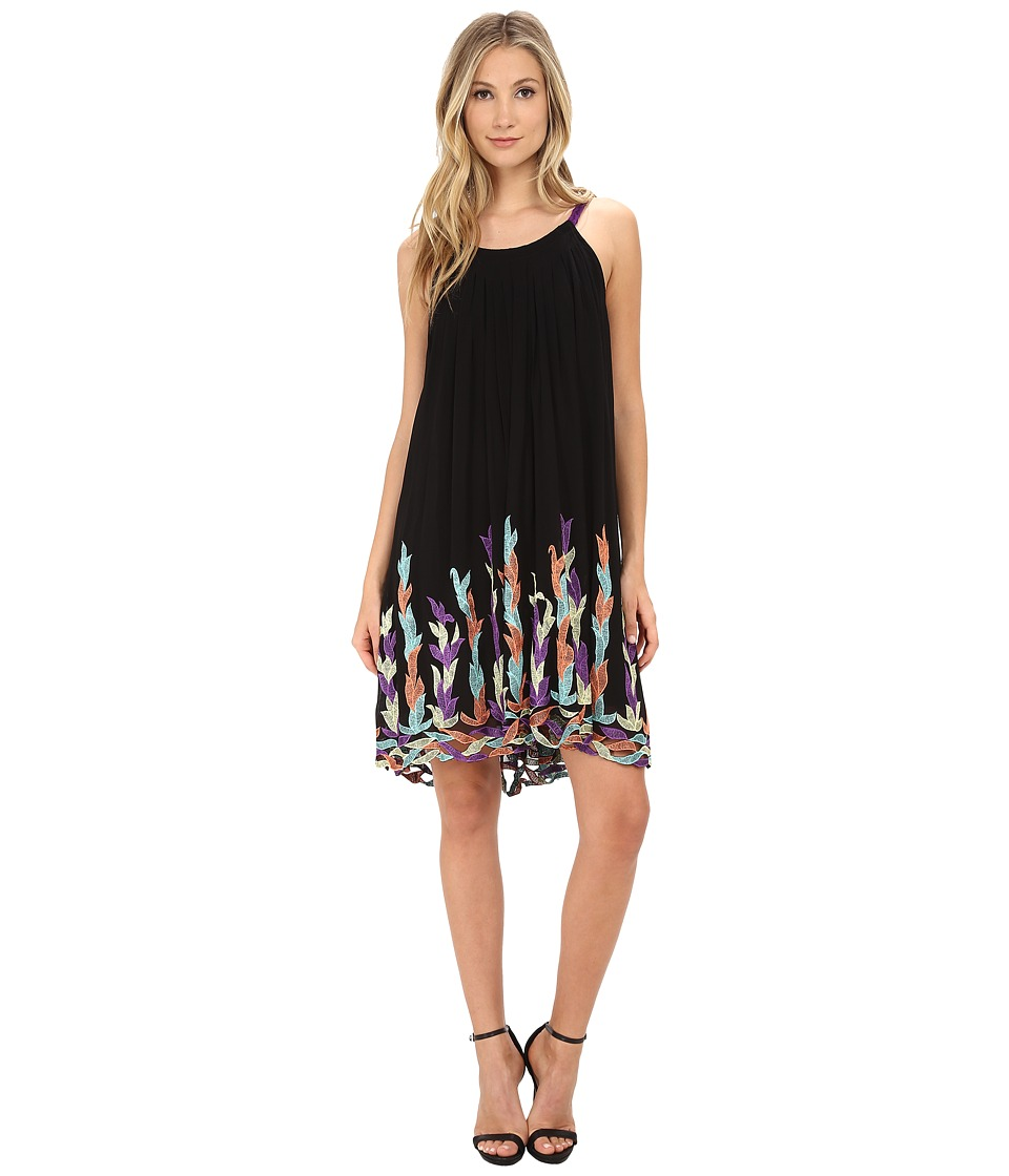 KAS New York - Suna Embroidered Swing Dress (Black) Women's Dress