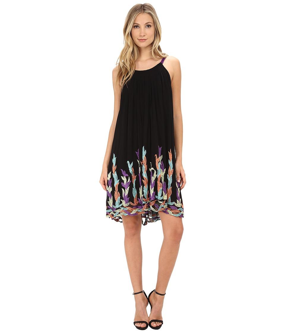 KAS New York - Suna Embroidered Swing Dress (Black) Women's Dress