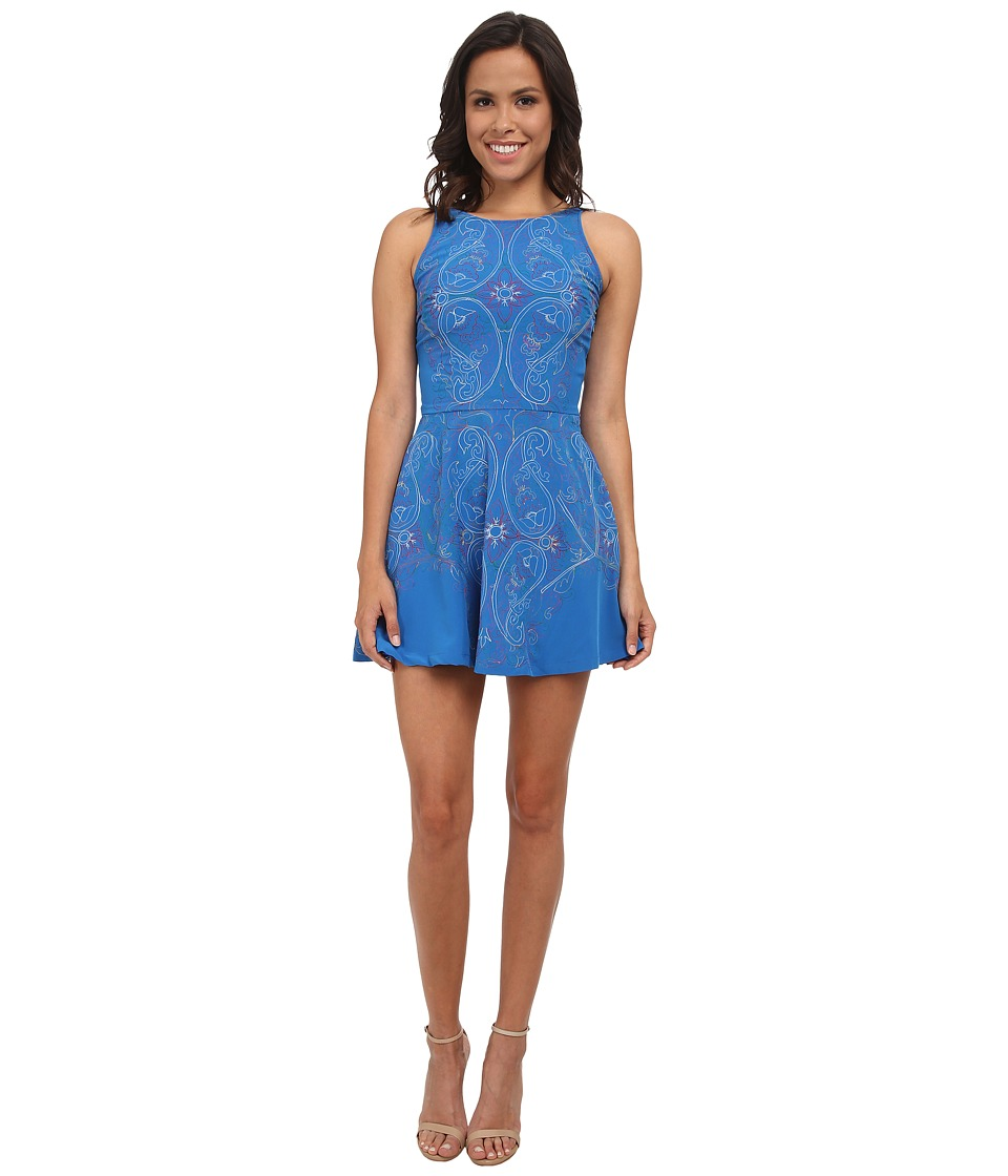 KAS New York Tayten Embroidered Fit and Flare Dress (Blue) Women