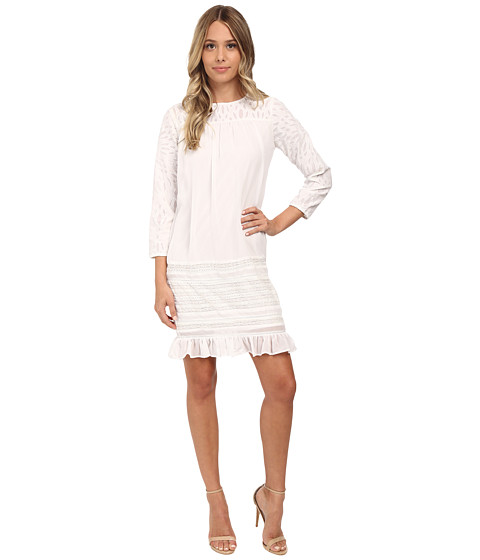 KAS New York - Magaly Cutwork Shift Dress (White) Women's Dress