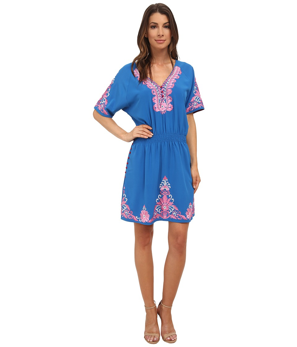 KAS New York - Linh Embroidered Smock Waisted Dress (Cornflower Blue) Women's Dress