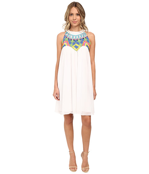 KAS New York - Kana Beaded Cutaway Swing Dress (White) Women