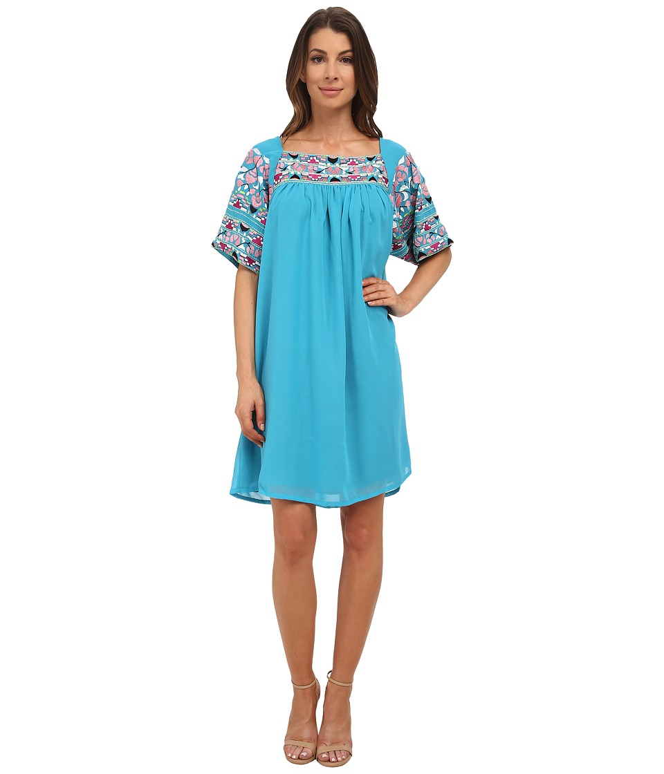 KAS New York - Aviva Embroidered Swing Dress (Turquoise) Women