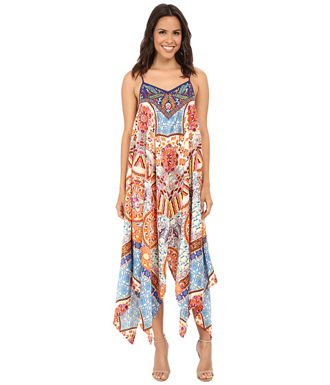 KAS New York - Bliss Embroidered Printed Handkerchief Hem Dress (Multi) Women