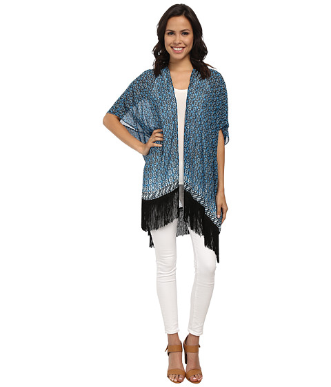 TWO by Vince Camuto - Batik Eternity Fringe Kimono (Atlas Blue) Women
