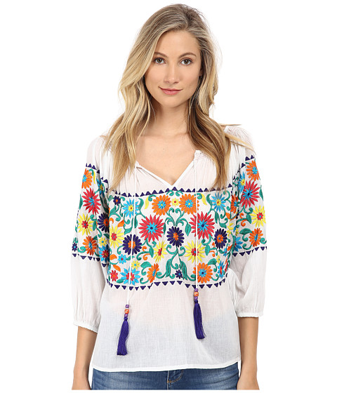 KAS New York - Dallas Embroidered Peasent Blouse (White) Women's Blouse