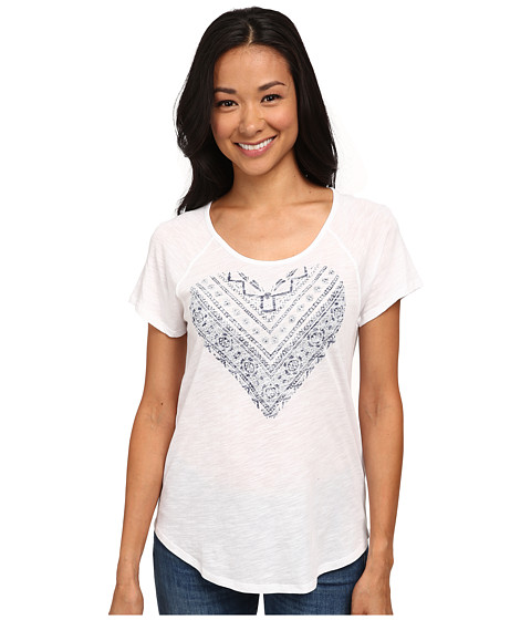 TWO by Vince Camuto - Short Sleeve Lace Heart Raglan Tee (Ultra White) Women's T Shirt