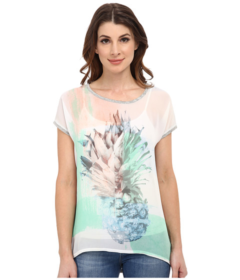 TWO by Vince Camuto - Short Sleeve Pineapple Scape Oversize Hi-Lo Tee (Ultra White) Women's T Shirt