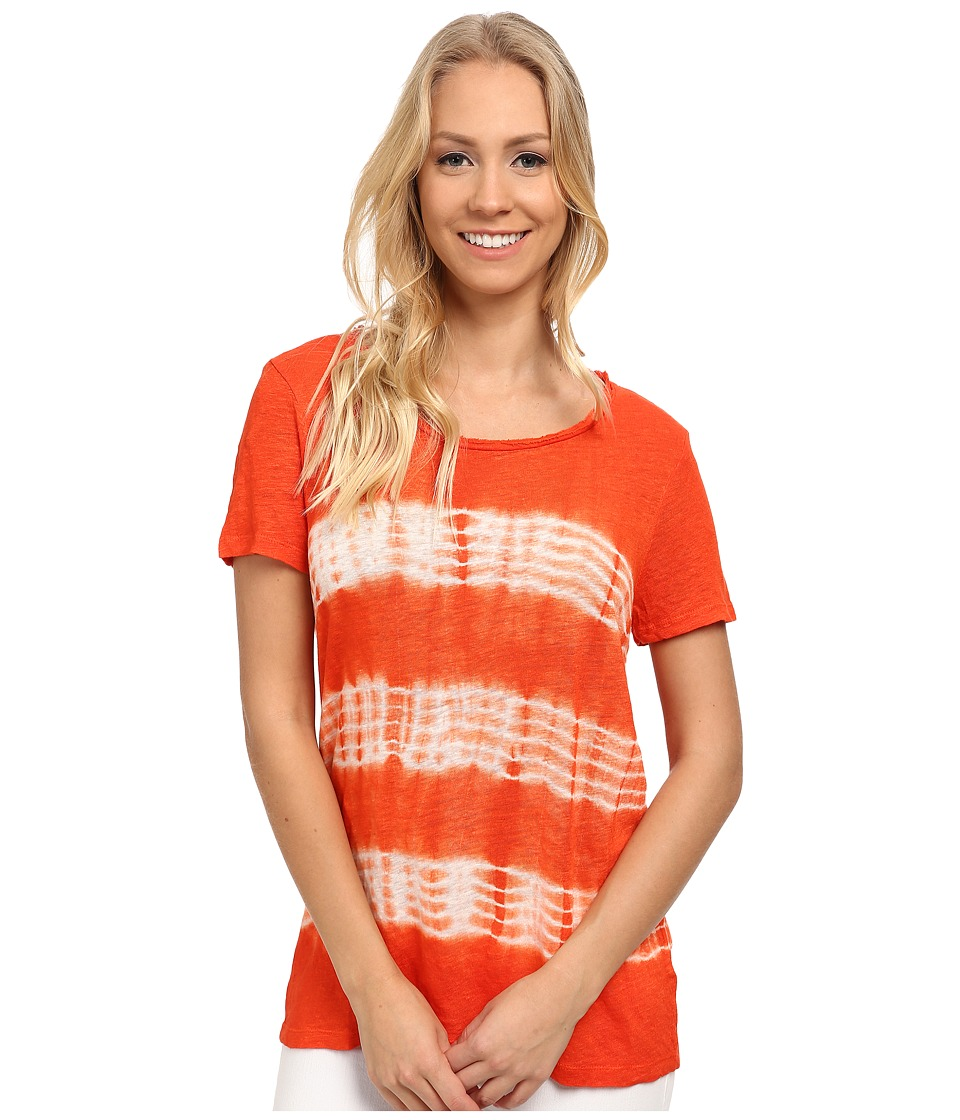 TWO by Vince Camuto - Short Sleeve Linen Jersey Linear Tie-Dye Tee (Habanero) Women