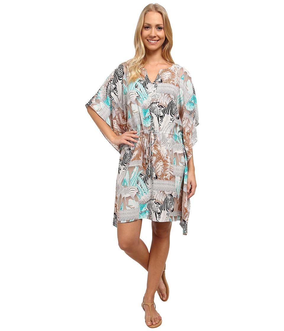 TWO by Vince Camuto - Zebra Fresco Splitneck Poncho Dress (Chalk) Women's Dress