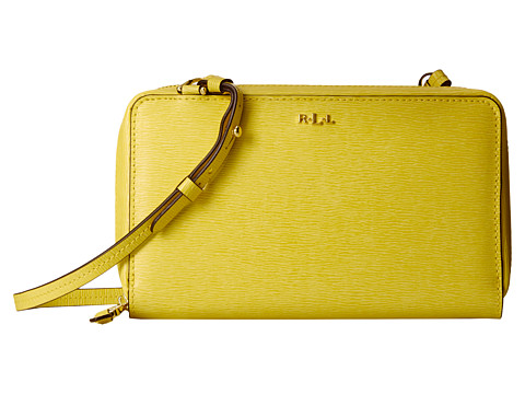 LAUREN by Ralph Lauren - Tate Multi Functional Crossbody (Canary/Cocoa) Cross Body Handbags