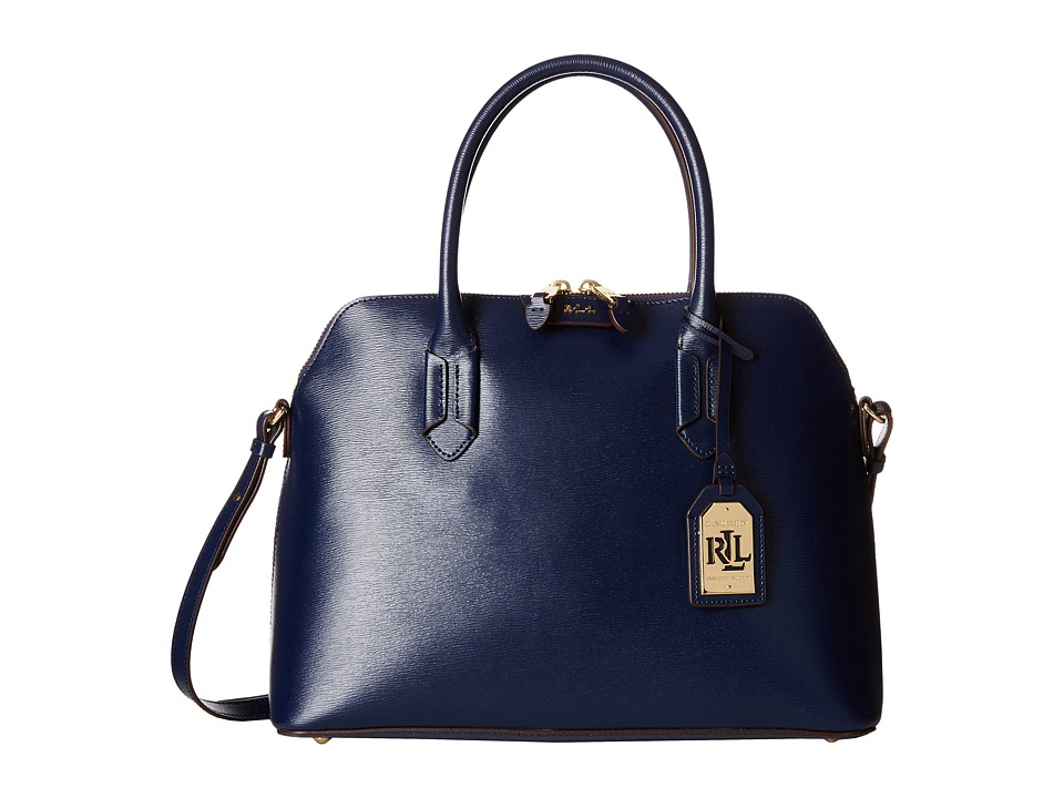LAUREN Ralph Lauren - Tate Dome Satchel (Navy/Cocoa) Satchel Handbags