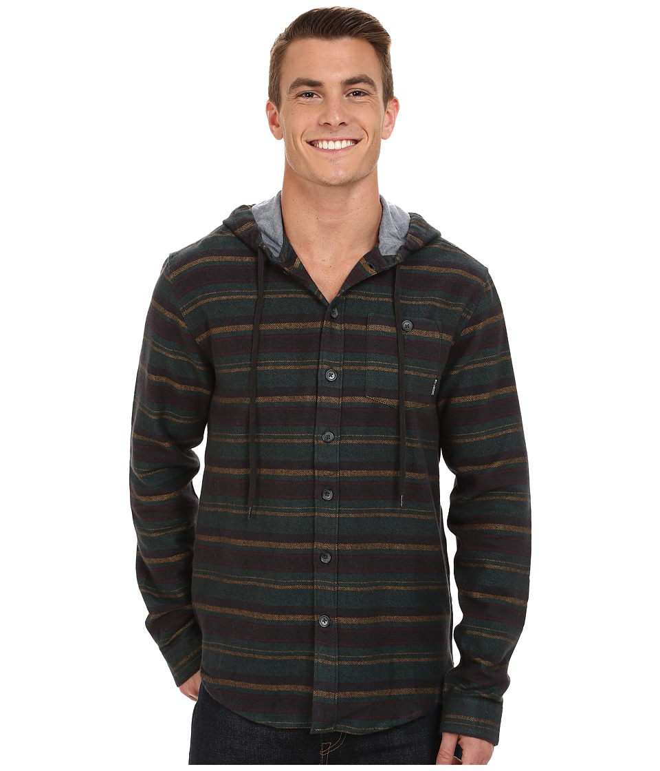 Billabong - Upstate Long Sleeve Hooded Flannel (Stealth) Men's Clothing