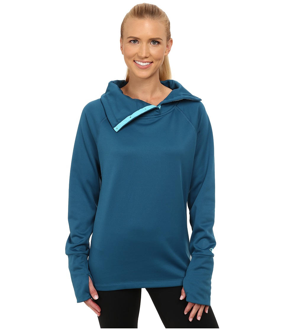 Champion - Tech Fleece Open Bottom Top (Patina Blue) Women's Long Sleeve Pullover
