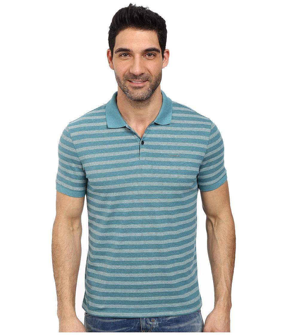 Calvin Klein - Jersey Auto Stripe Polo (Blue Marine) Men