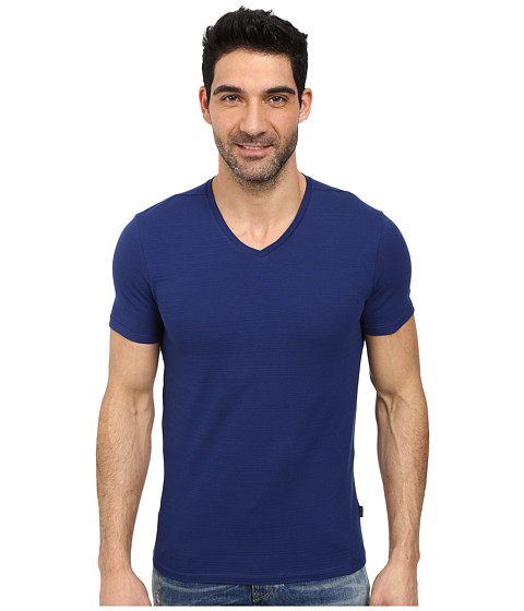 Calvin Klein - Short Sleeve V-Neck Slub T-Shirt (Blue Depths) Men's T Shirt