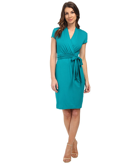 Adrianna Papell - Short Sleeve Wrap Dress (Turquoise) Women's Dress