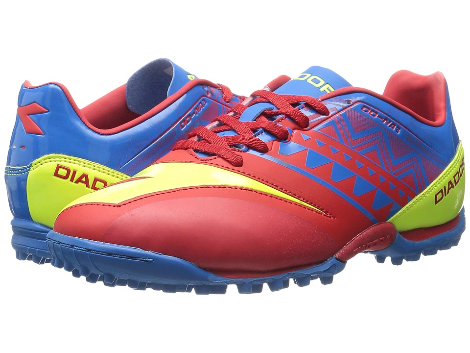 Diadora - DD NA3 R Turf (Brilliant Blue/Fiery Red) Men's Soccer Shoes