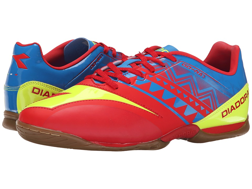 Diadora - DD-NA3 R Indoor (Brilliant Blue/Fiery Red) Men's Soccer Shoes