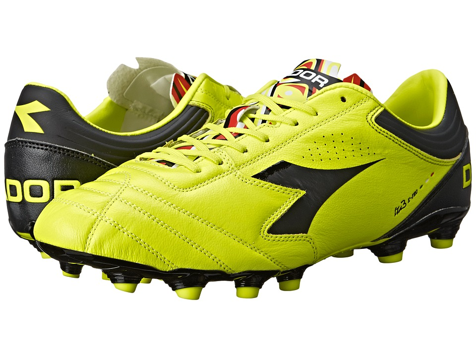 Diadora - Italica 3 K-PRO MG 14 (Yellow Fluo DD/Black) Men's Soccer Shoes