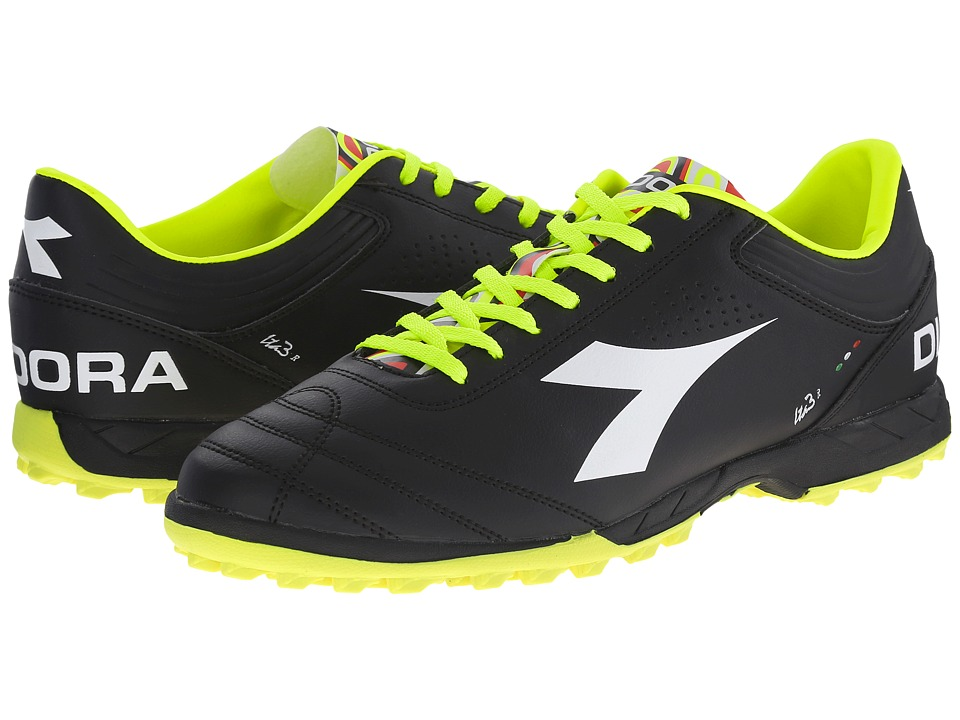 Diadora - Italica 3 R TF (Black/White) Men's Soccer Shoes