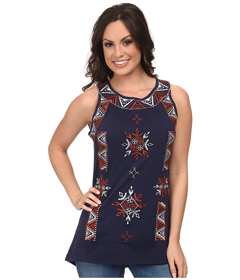 Scully - Sophia Embroidered Tank Top (Navy) Women's Sleeveless