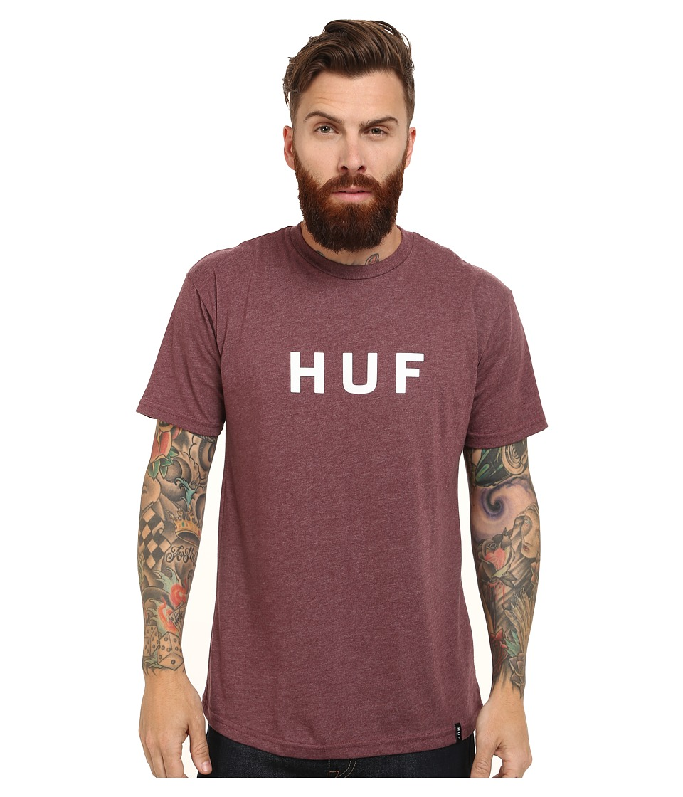 HUF - Original Logo Tee (Wine Heather) Men's T Shirt