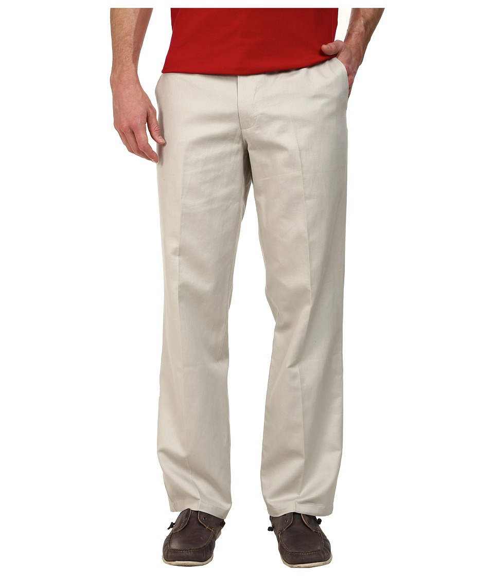 Dockers Men's - Signature Khaki D2 Straight Fit Flat Front (Linen - Porcelain Khaki) Men's Casual Pants