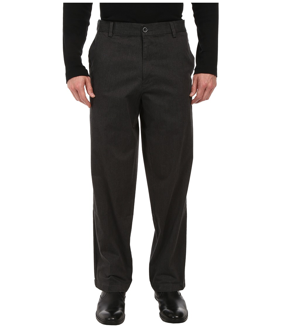 Dockers Men's - Comfort Khaki D4 Relaxed Fit Flat Front (Dark Charcoal Heather) Men's Casual Pants
