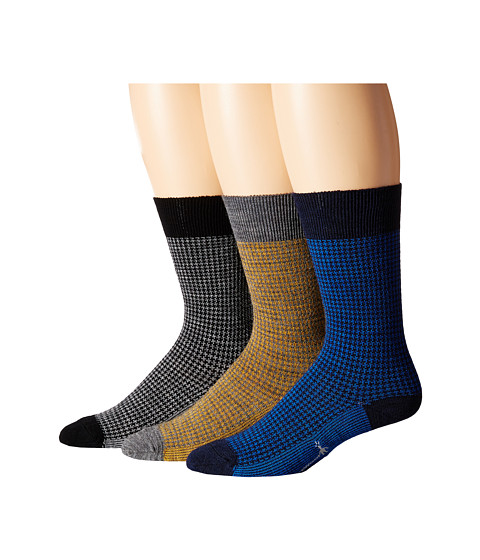 Smartwool - Houndstooth 3-Pack (Medium Gray/Deep Navy/Black) Men's Crew Cut Socks Shoes