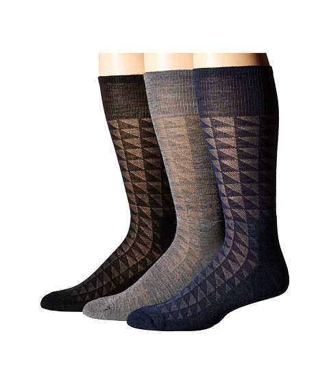 Smartwool - Triangulate Crew 3-Pack (Medium Gray/Deep Navy/Black) Men's Crew Cut Socks Shoes
