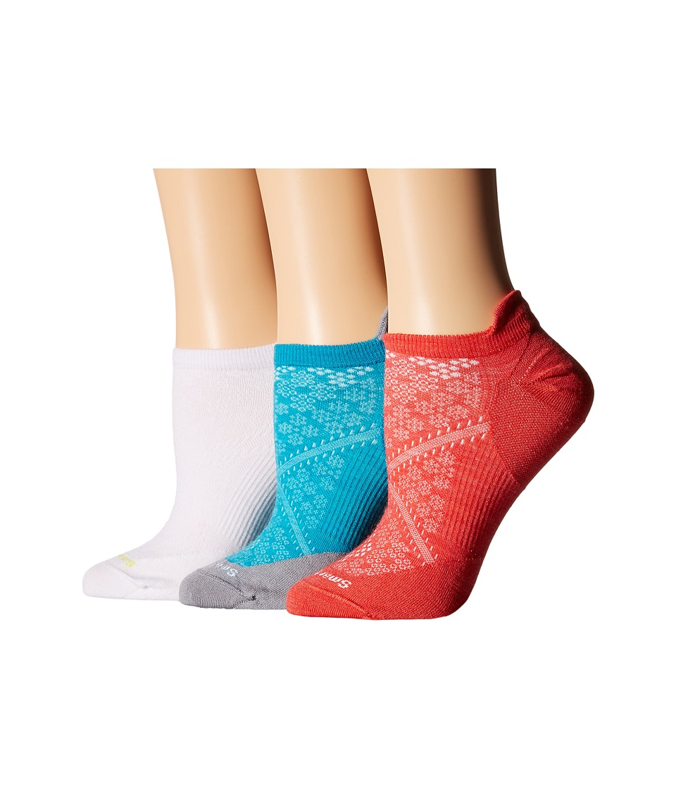 Smartwool - PhD Run Ultra Micro 3-Pack (White/Capri/Hibiscus) Women's Crew Cut Socks Shoes
