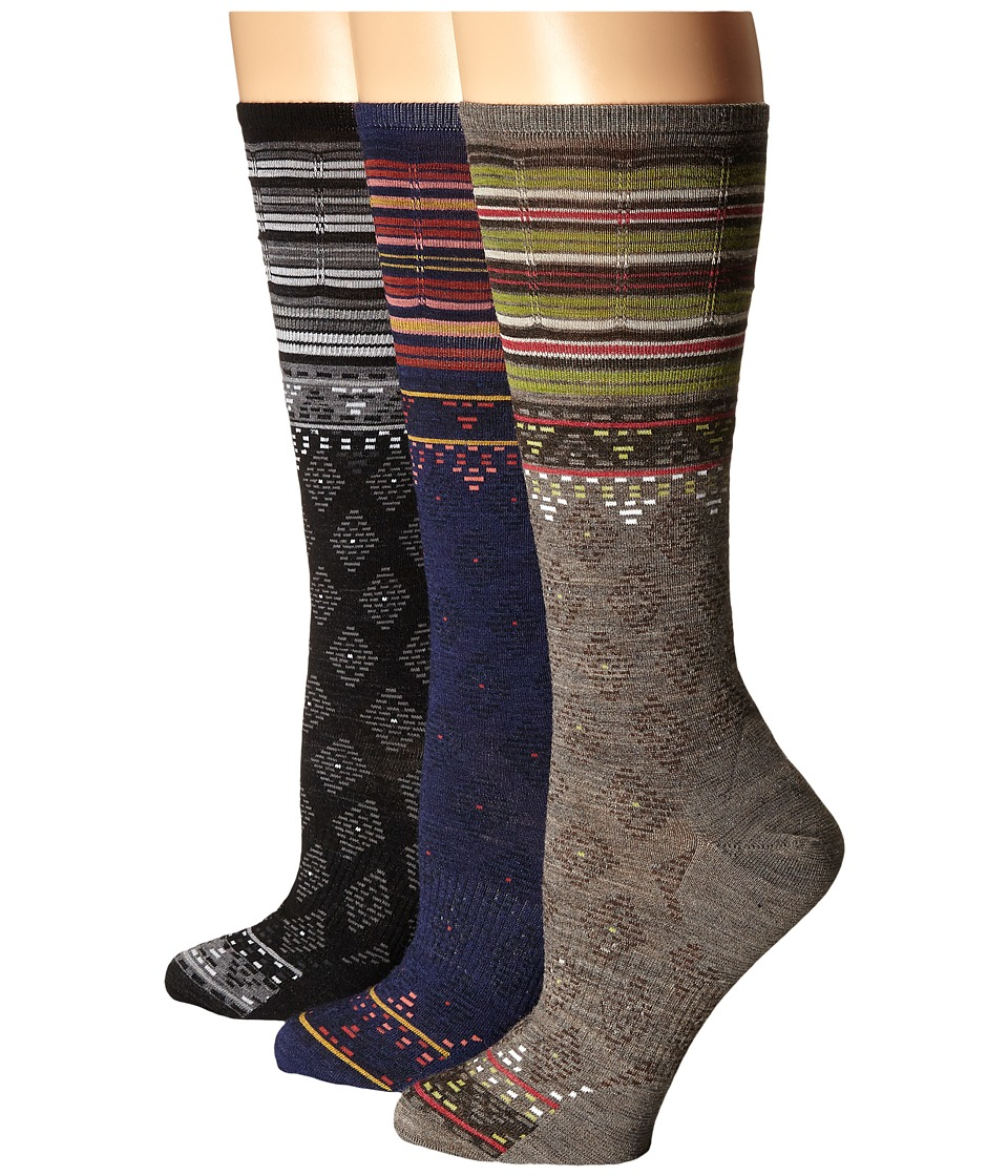 Smartwool - Rocking Rhombus 3-Pack (Ink/Taupe/Black) Women's Crew Cut Socks Shoes