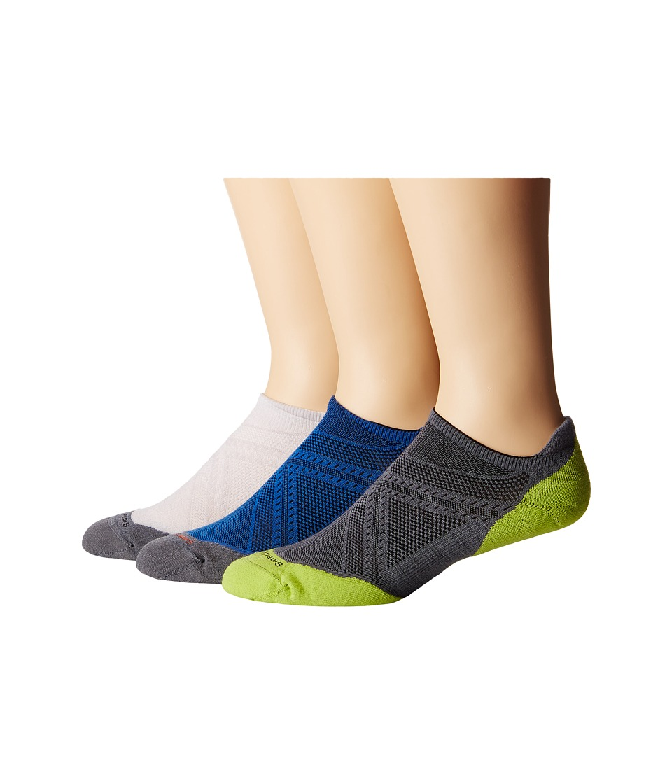 Smartwool - PhD Run Elite Micro 3 Pair Pack (Silver/Bright Blue/Graphite) Men's Crew Cut Socks Shoes