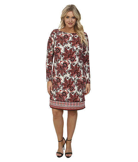 MICHAEL Michael Kors - Plus Size Lakheri Leaf Print Long Sleeve Boat Neck Border Dress (Grenadine) Women
