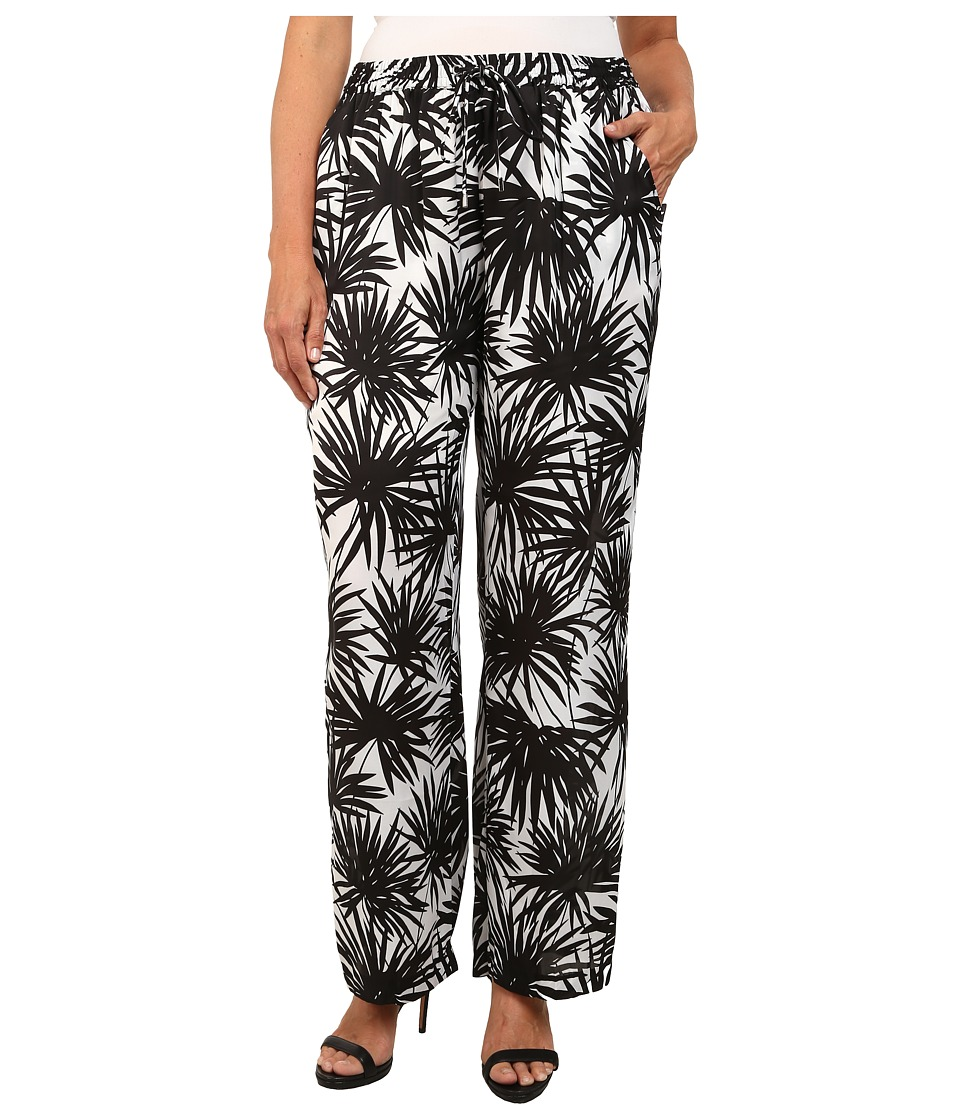 MICHAEL Michael Kors - Plus Size Printed Wide Leg Pants (Black) Women's Casual Pants