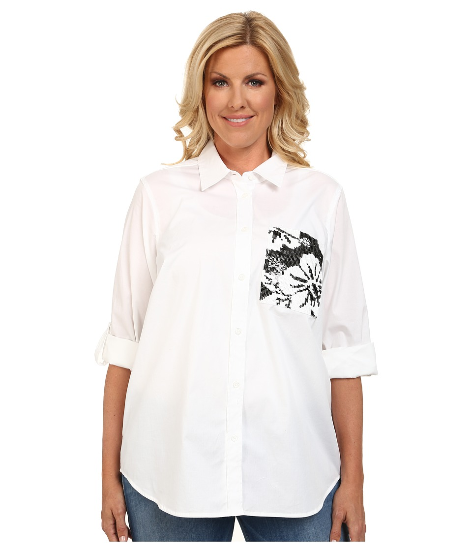 MICHAEL Michael Kors - Plus Size Sequin Pocket Button Down Top (White) Women