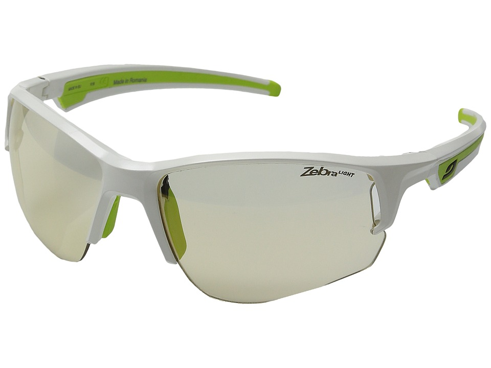 Julbo Eyewear - Venturi Performance Sunglasses (Shiny White/Green With Zebra Photochromic Lens) Sport Sunglasses