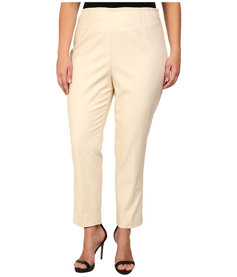 NIC+ZOE - Plus Size Perfect Side Zip Ankle Pants (Sandshell) Women