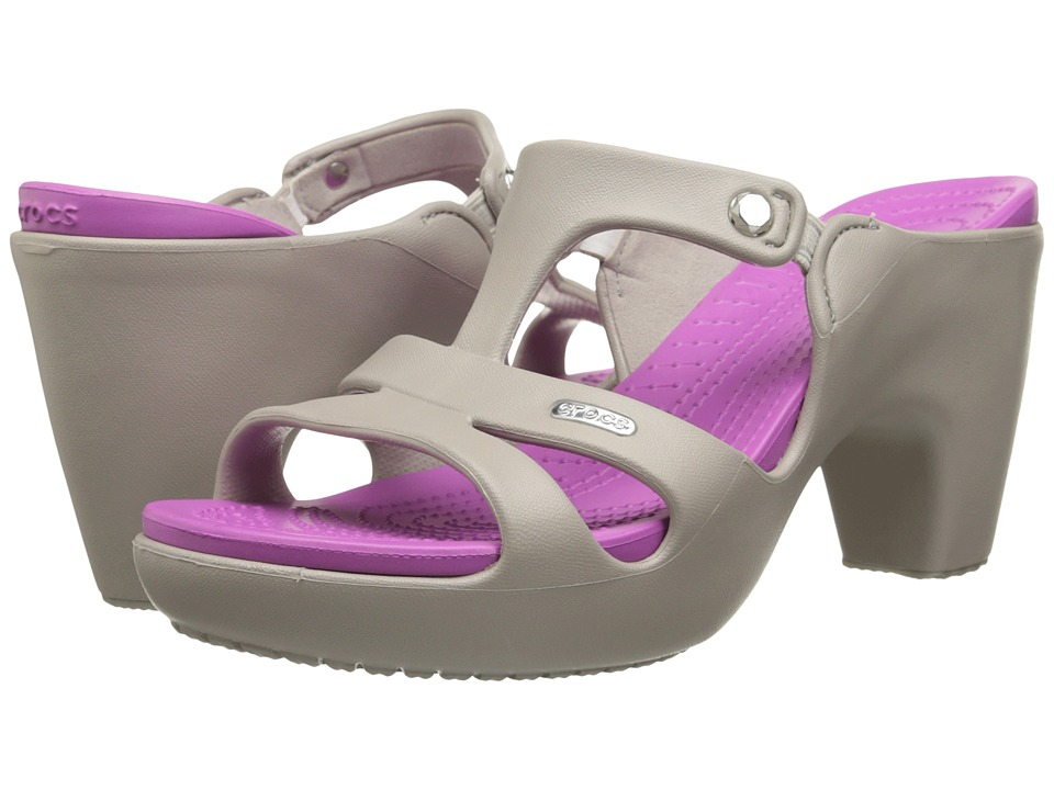 Crocs - Cyprus V Heel (Platinum/Wild Orchid) Women's Shoes