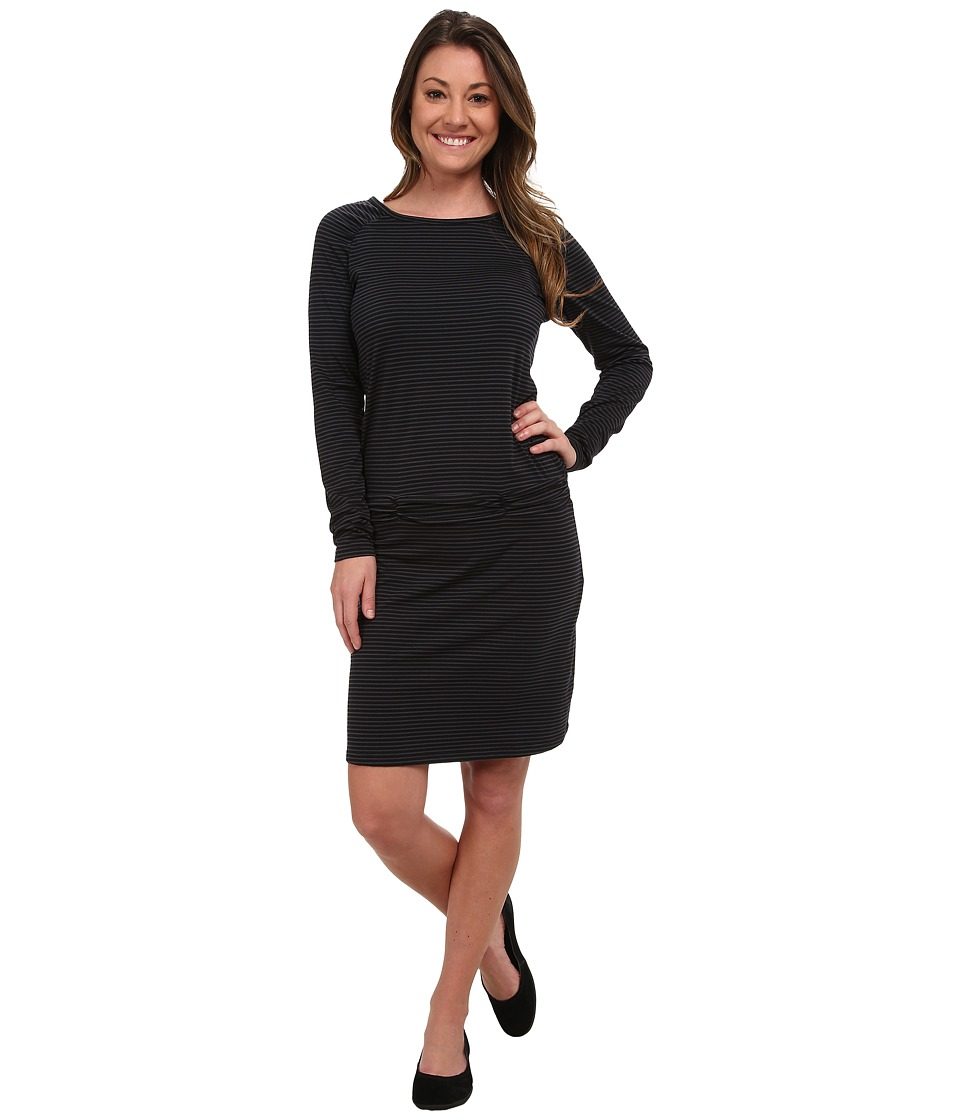 Carve Designs Long Sleeve Shore Dress (Black Stripe) Women