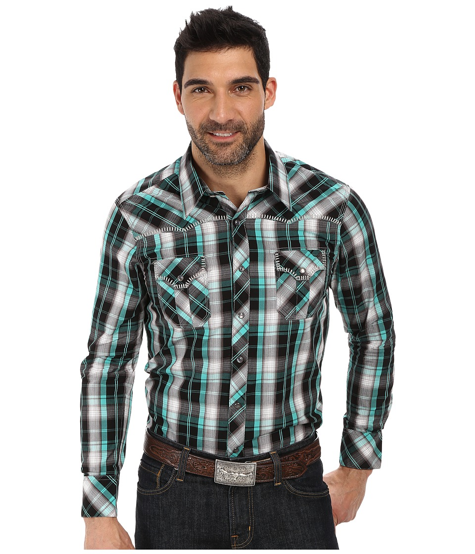 Rock and Roll Cowboy - Long Sleeve Snap B2S2338 (Green) Men's Long Sleeve Button Up