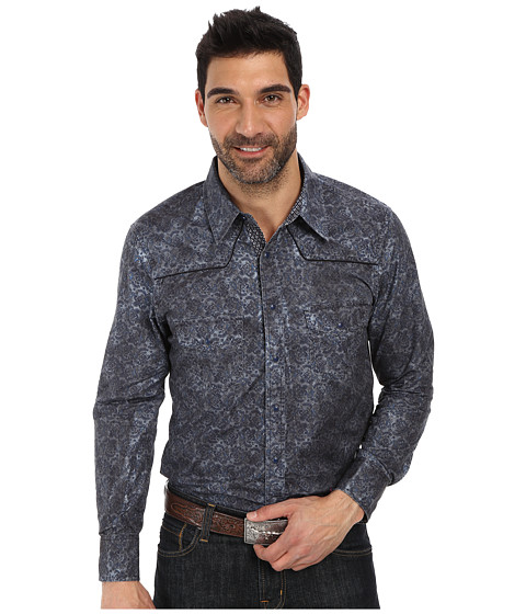 Rock and Roll Cowboy - Long Sleeve Snap B2S2123 (Blue) Men's Long Sleeve Button Up