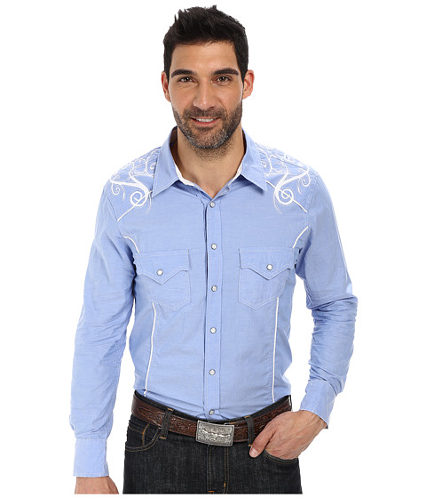 Rock and Roll Cowboy - Long Sleeve Snap B2S2526 (Blue) Men's Long Sleeve Button Up