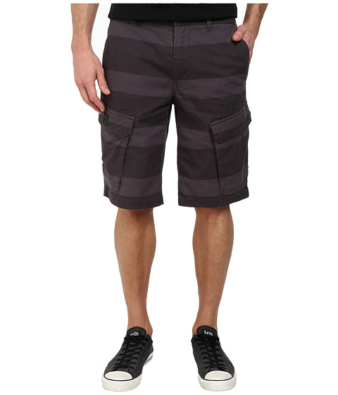 DKNY Jeans - Horizontal Stripe Canvas Shorts (Black) Men's Shorts