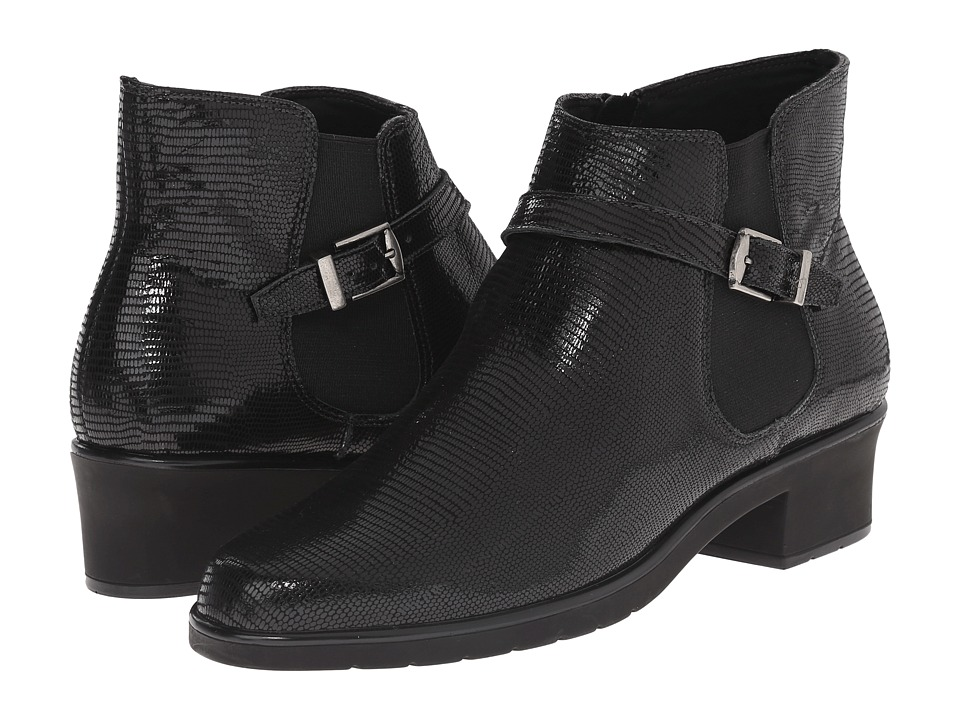Walking Cradles - Clive (Black Patent Lizard Print) Women's Boots
