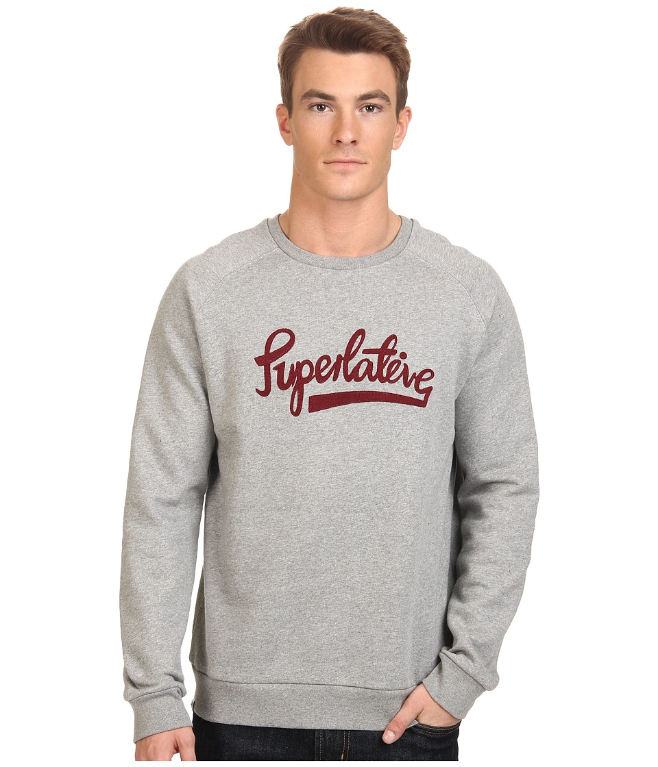 WeSC - Superlative Script Crew Neck Sweatshirt (Grey Melange) Men's Fleece