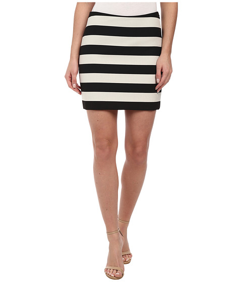 Nicole Miller - Bold Stripe Mini Skirt (Black/White) Women's Skirt